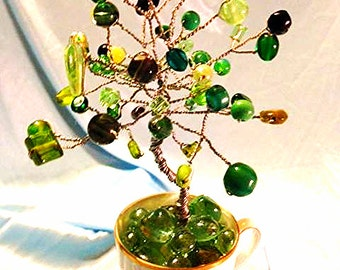 Green 'Cherished' Crystal Tree in Flower Tea Cup