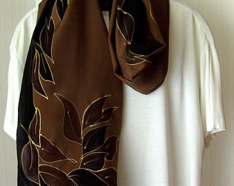 hand painted Langschal pure silk fashion leaves brown black with gold for every season gift birthday wedding 176x45cm (16x69in)