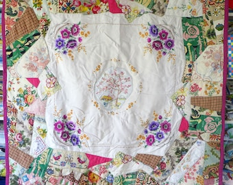 Crazy Patchwork Quilt - Vintage fabrics & Embroidery