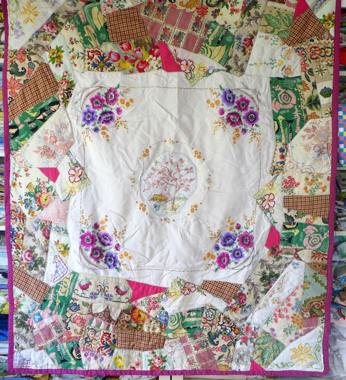 Crazy patchwork quilt vintage fabrics embroidery