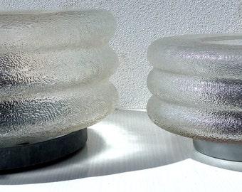 Two VINTAGE WALL LAMP (Sconces)-Transparent glass-Years 60 's-Italian design Modern lighting Mid century Retrà