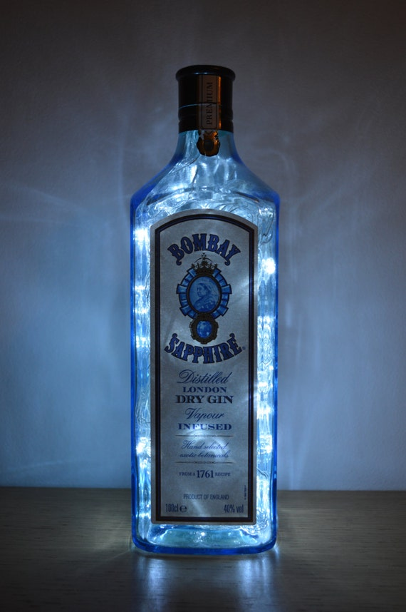 Upcycled Bombay Sapphire Spirit Bottle Lamp Small