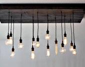 IndIndustrial Lighting Chandelier - Rustic Chandelier - Industrial Lighting - Edison Bulb Chandelier - Rustic Chandelier