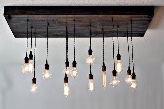 Industrial Rustic Chandelier - wood-lamps, restaurant-bar, flush-mount-lighting