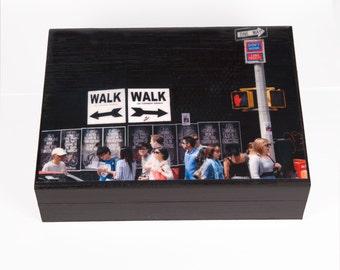 Large Keepsake Box, New York City, Wooden Keepsake Box, New York Art, Street Art, Memory Box, Gift Box, Deborah Julian