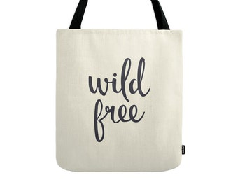 Wild Free tote bag black tote bag black canvas bag black summer bag words bag summer tote bag wild bag wild tote summer bag gift for her