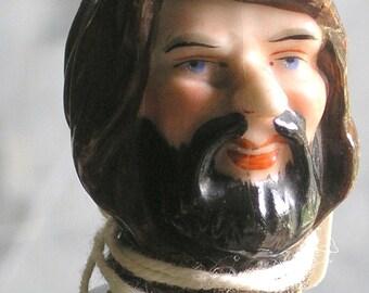 Antique porcelain handpainted bottle stopper cork head of a monk