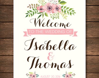 Custom Wedding Welcome Sign Printable | Floral | Custom Wedding Print | Botanical | Custom Names | Welcome Sign | 8x10 | Digital Download