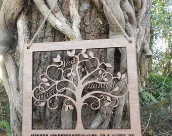 Personalised Wooden Family Tree Wall Art - Family names cut out of wooden plaque