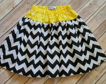 Beautiful Handmade Girl Black and Yellow Chevron Twirl Skirt Size 7