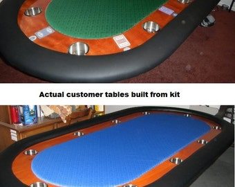DIY - 8' Upgraded Custom Racetrack Poker Table Building Kit - 13 Color Choices - Build Your Own Poker Tables