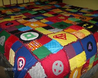 Superhero Super Hero Rag Quilt Comic Cotton and Minky Chenille Applique QUEEN Size Blanket Custom Made