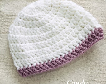 Handmade Crocheted baby Beanie - White with Pink trim - 'Candy'