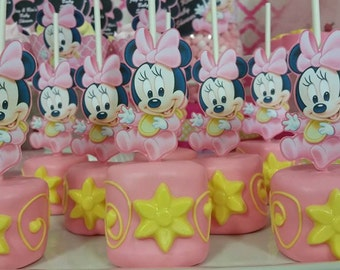 Baby Minnie Mouse Cupcake Toppers, Cake Pop Toppers, Marshmallow Toppers, DIGITAL FILE, You Print