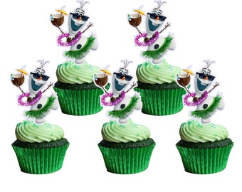 PRINTABLE Disney Frozen OLAF LUAU Cupcake Topper, Cupcake Pick
