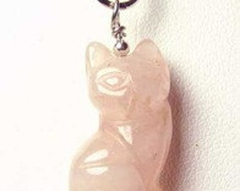 Adorable! ROSE QUARTZ CAT & Solid Sterling Silver Pendant 509257RQS