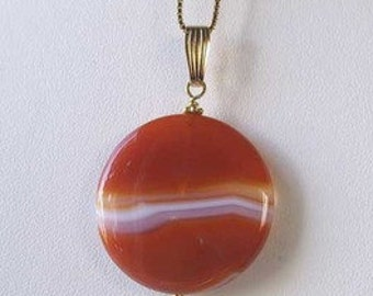 Made In USA Orange-RED Carnelian 14Kgf PENDANT 505677M