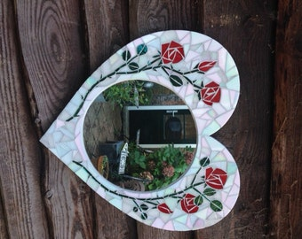 Mosaic heart shaped mirror with red roses