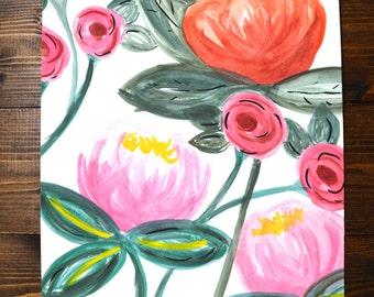 Original Floral Watercolor Painting 8x10