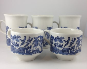 Set of 5 Vintage Blue Willow China Coffee and Tea Cups, 2 Tea Cups and 3 Coffee Mugs Blue Willow Made in England