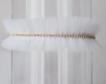 Wedding garter Tulle bridal garter Ivory tulle garter  White tulle garter Rhinestone Bridal garter Gold garter Rhinestone pearl garter