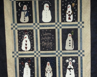 Warm Winter Blessings A complete quilt top kit with pattern, fabric, wool, thread, and needles.