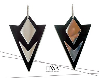 Geometric Earrings, Black/Mirror Statement Acrylic Earrings, Contemporary Design by EnnaJewellery