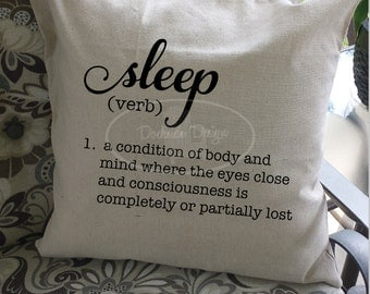 Sleep definition throw pillow cover, 20x20, 100% Cotton