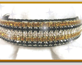 Warm Zebra Sparkle Rhinestone Dog Collar
