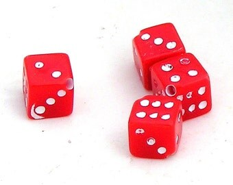Tiny Red Dice, Cute, #100, 7 mm