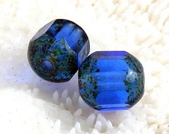 Picasso, Czech Blue Glass Beads ,#10, 031