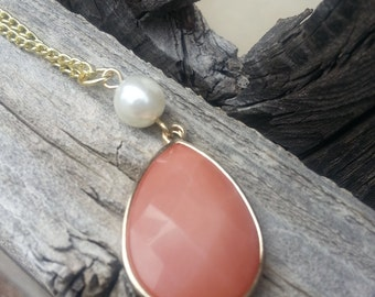 Pink Stone and White Pearl Pendant Necklace on Gold Chain