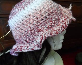 Pink, Red, White Crochet Sun Hat Floppy Rim