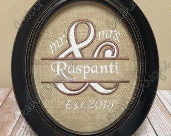 Mr. and Mrs. Framed Applique' - includes 8x10 Frame