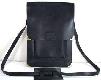 Black Leather Bag,Vintage Leather Messenger Bag