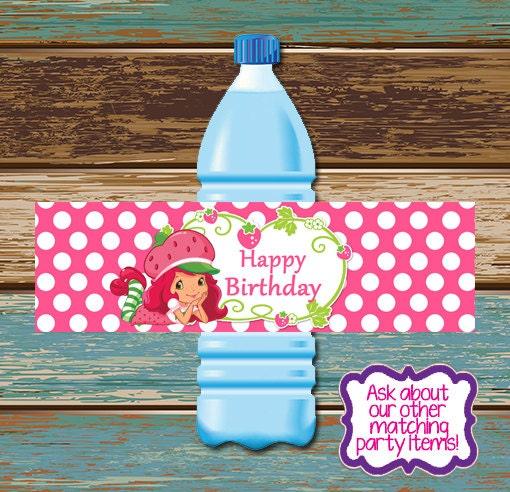 Strawberry Shortcake Birthday Party Water Bottle Label