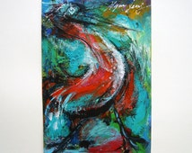 Red Stork Original Acylic Painting, Fine Art, Whimsical Animal Painting, Bird Painting, Wall Abstract Art, Home Decor, Nursery Decor