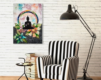 Print reproduction Buddha with flowers or watercolor paper by Marika Lemay mixed media artist. Zen and modern decor