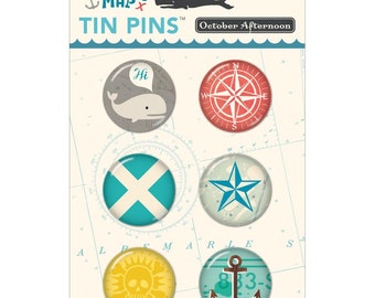 October Afternoon ~ Treasure Map Tin Pins 6/Pkg