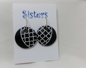 Polymer Clay Earrings...black and white silk screened