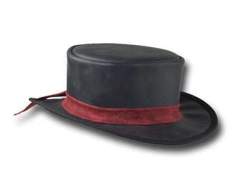 VE Adventures Short Leather Top Hat 3043BL - Black