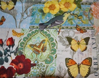 One Yard of Michael Miller French Journal Collection Floral Cotton Quilt Fabric