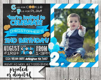 Cookie Monster Invitation, Cookie Monster Birthday, Cookie Monster Party, Cookie Monster Invite, Cookie Monster Birthday Invitation