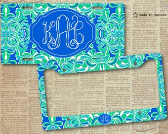 lilly pulitzer inspired vanity car tag floral pattern license plate frame license plate gift for her bright blue and aqua bike tag