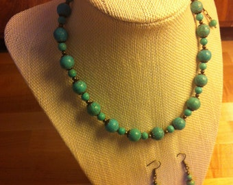 Turquoise Dyed Magnesite Necklace and Earrings