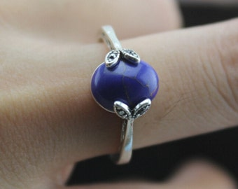 natureal Lapis lazuli ring in silver leave jewelry Modern Elegant wedding gift Christmas gifts R83A