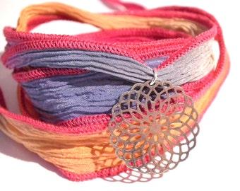 Purple, orange Silk Ribbon Bracelet, pink