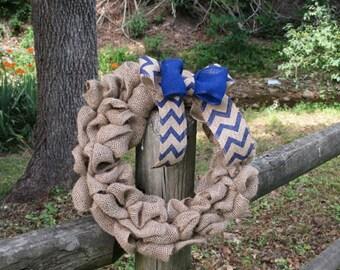 Chevron, Navy Blue Burlap Wreath