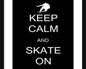 Keep Calm and Skate On - Soccer  - Art Print - Keep Calm Art Prints - Posters