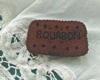 Stitched Bourbon Biscuit Felt Brooch Badge
